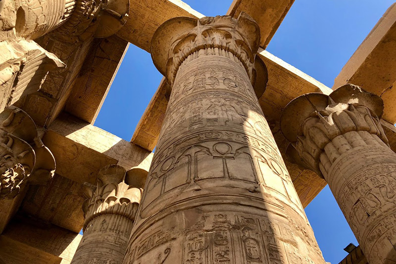 Looking up at the Kom Ombo ruins, Egypt