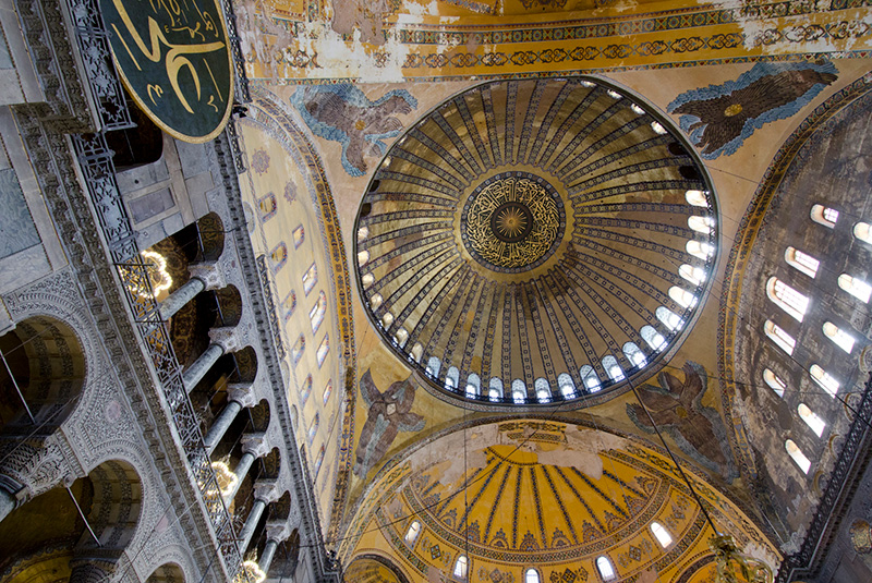 The ornate interior of the Hagia Sophia mosque in Istanbul, Turkey