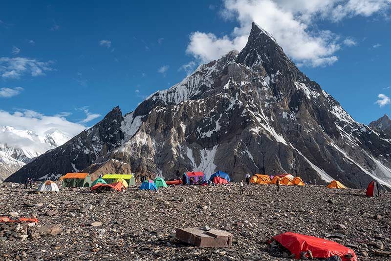 Colorful camp at Concordia on the K2 Trek, Pakistan