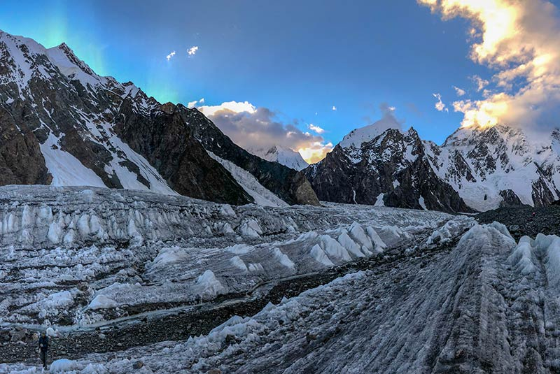 Morning light in the sky over a glacier on the K2 trek, Pakistan