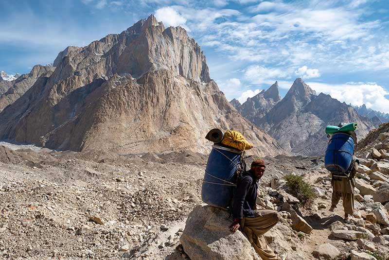 Two porters on the K2 Trek, Pakistan