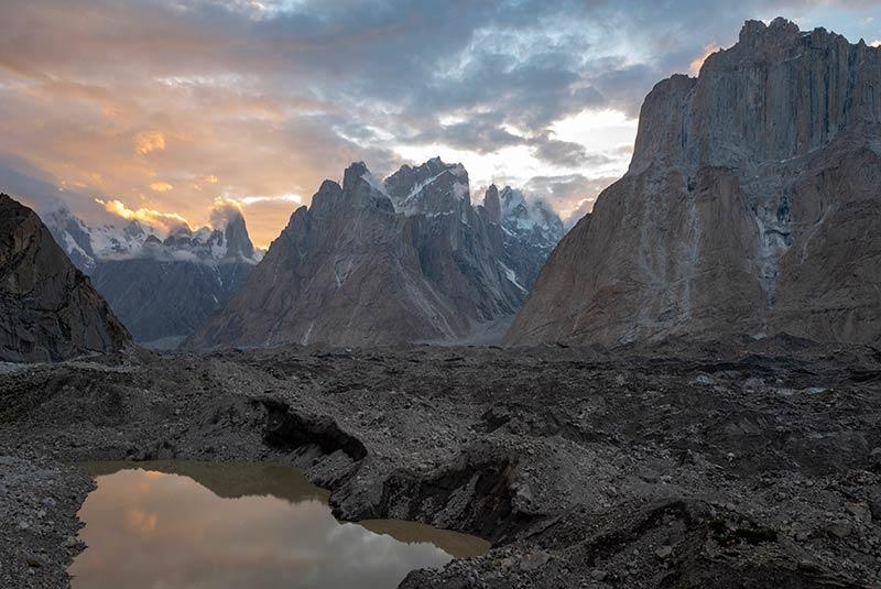 Sunset warms the sky on the K2 Trek, Pakistan