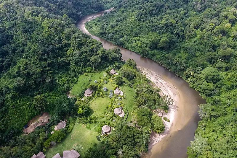 Aerial view from a helicopter excursion over Tayrona National Park, Colombia