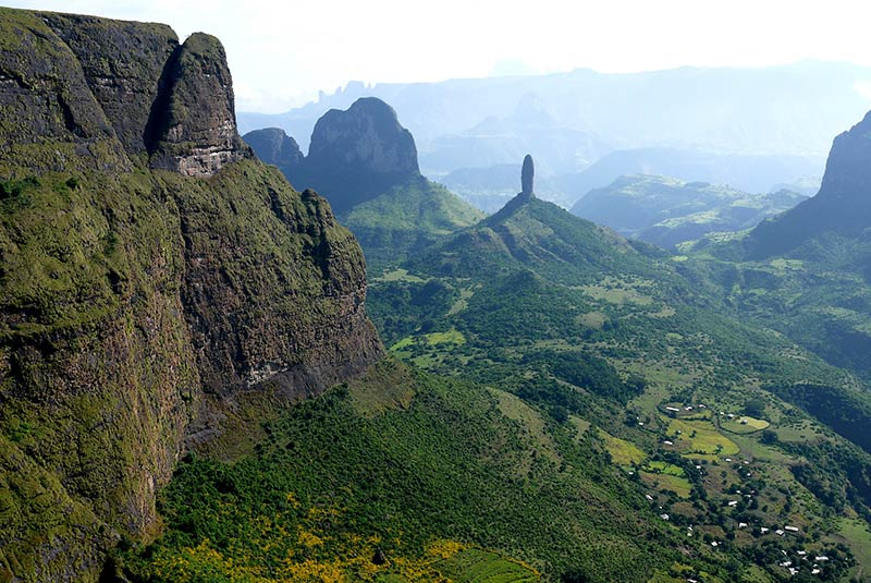 A view over the Tigray region in Ethiopia, known for its rock-hewn cliff churches