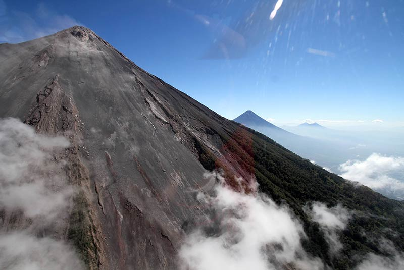 Helicopter flight over volcanoes in Guatemala