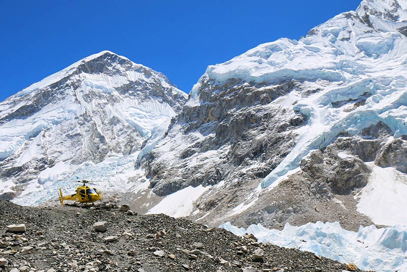 Helicopter at Everest Base Camp in Nepal