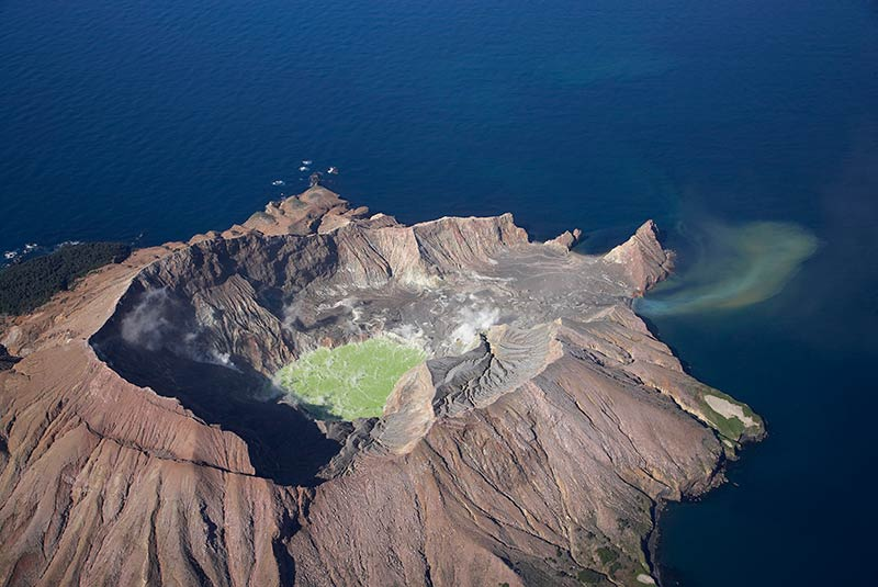 Aerial image of White Island in the Bay of Plenty, North Island, New Zealand