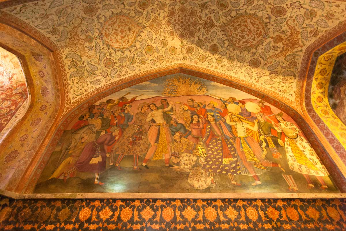 A mural painting inside the Hasht Behesht, a 17th-century palace and pavilion, Esfahan, Iran.