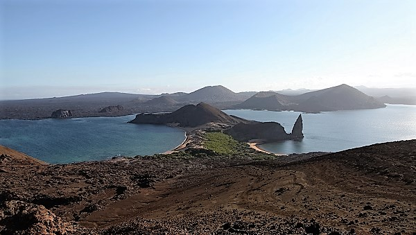 View of Pinnacle Rock from volcano on Bartolome Island: Galapagos Islands with GeoEx.