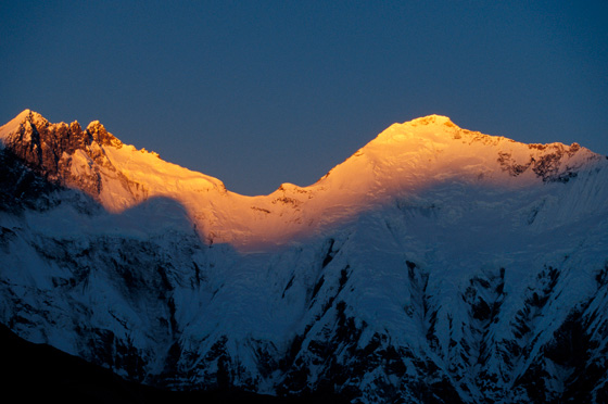 Sunrise hitting the peaks of Mount Everest with GeoEx