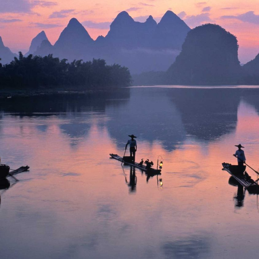 Cormorant fishermen on the Li River in Yangshuo, China with GeoEx