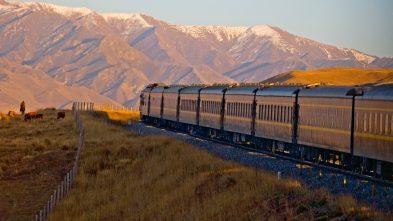 Golden Eagle Shangri-La Express luxury train traveling along the Silk Road
