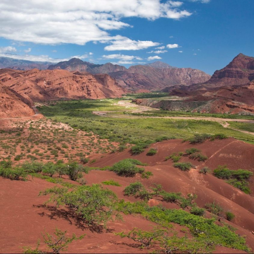 The red-rock Quebrada de Cafayate Canyon in Salta Province, Northwest Argentina