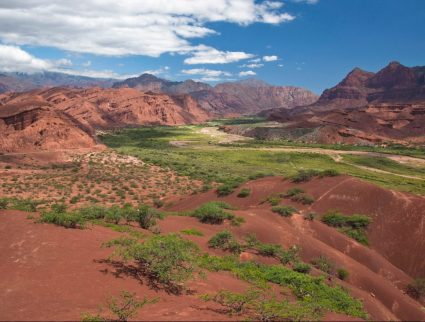 The red-rock Quebrada de Cafayate Canyon in Salta Province, Northwest Argentina