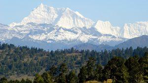The snowcapped peak of Gangkhar Puensum, the highest mountain in Bhutan