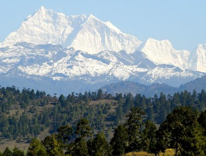 The snowcapped peak of Gangkhar Puensum, the highest mountain in Bhutan