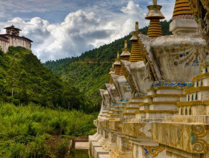 Stupas in the countryside, Bhutan