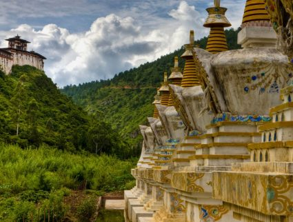 Stupas in the countryside, Bhutan