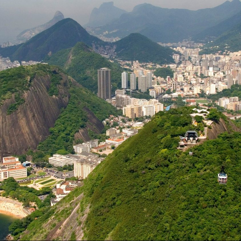 View of Rio de Janeiro from Sugarloaf Mountain cable car, Brazil
