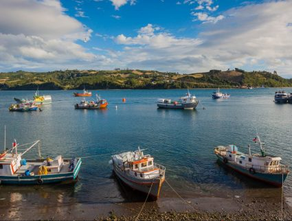 Fishing boats in Dalcahue off Chiloe Island, Patagonia