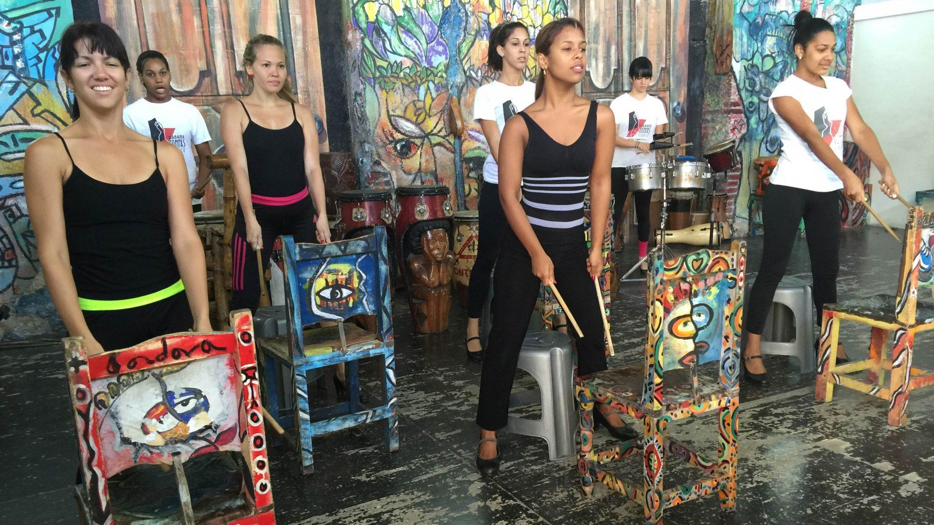 Female musicians performing in Havana, Cuba
