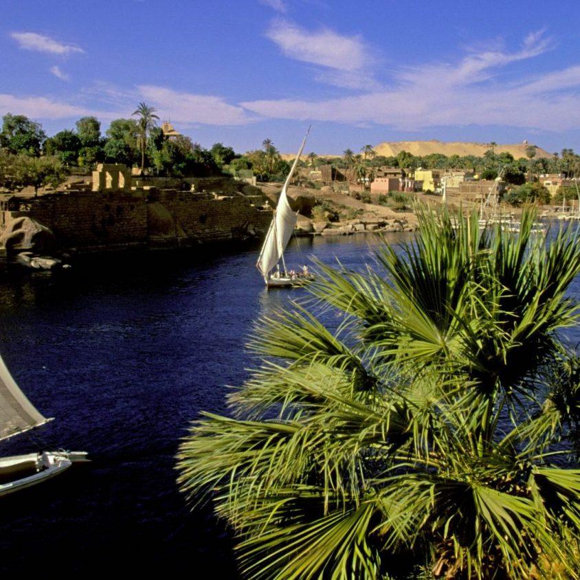 Feluccas sailing on the Nile River near Aswan, Egypt