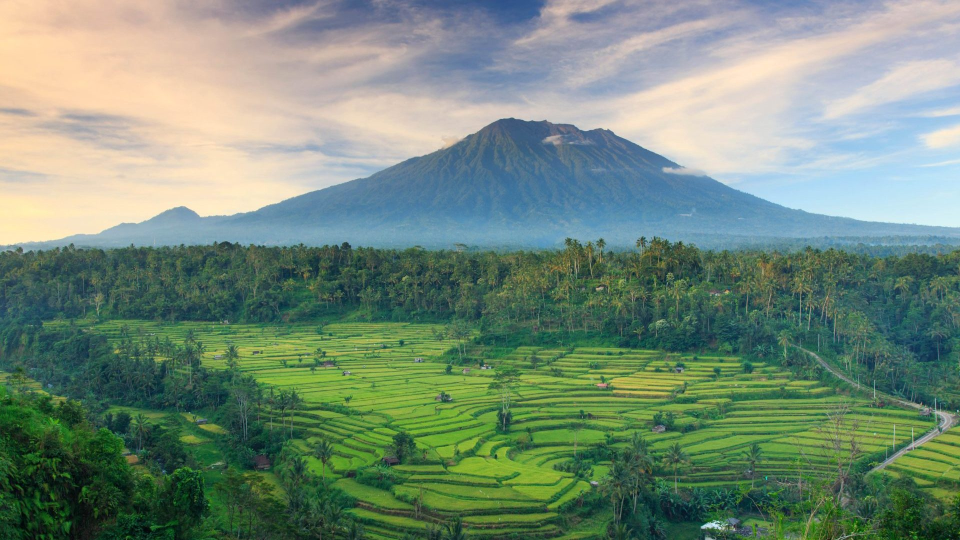 View of rice terraces and Gunung Agung volcano on Bali, Indonesia with GeoEx