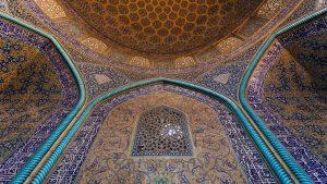 Beautiful tile work inside the Mosque Of Sheikh Lotfollah in Esfahan, Iran