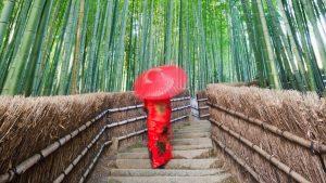 Woman walking through Arashiyama Bamboo Forest in Kyoto, Japan with GeoEx