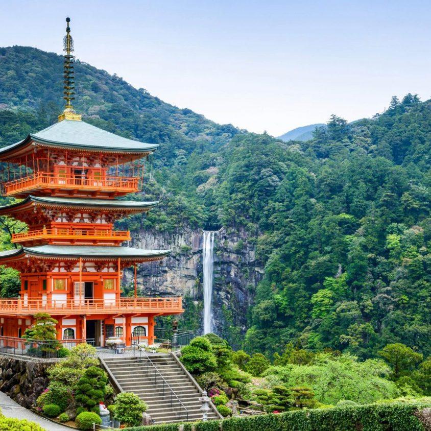Seigantoji pagoda and Nachi no Taki waterfall, Kumano Kodo, Japan with GeoEx