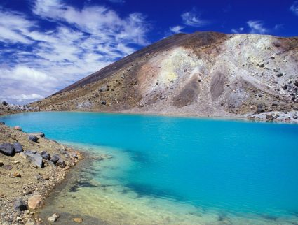Emerald lakes in Tongariro National Park, North Island, New Zealand