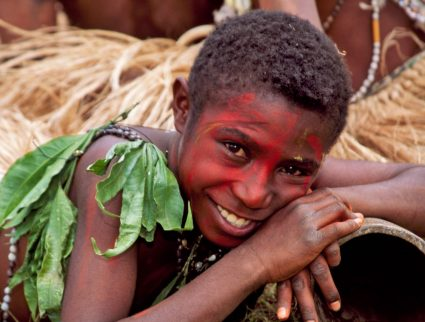 Tribe children at Sing Sing Festival, Mt. Hagen, Papua New Guinea
