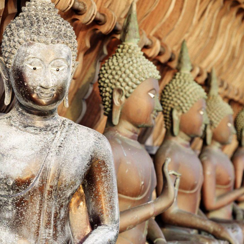 Buddha statues at Gangarama Temple in Sri Lanka