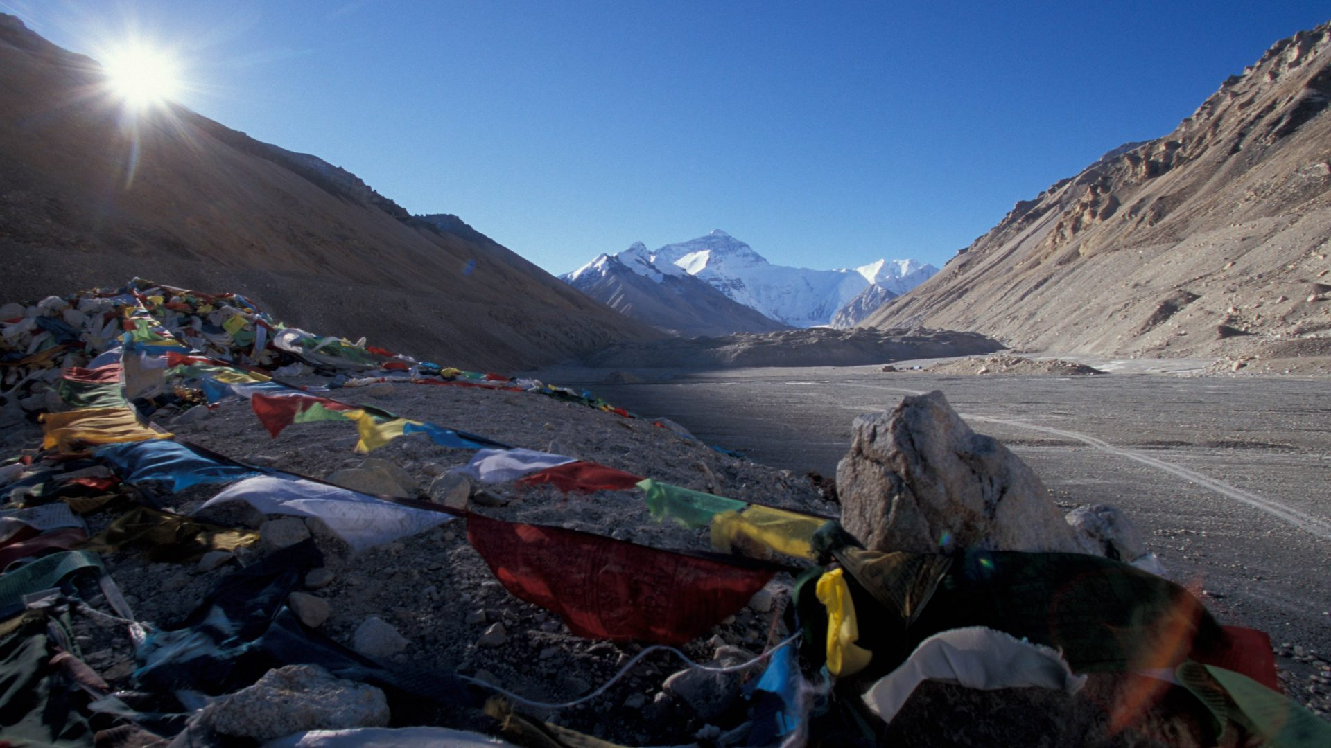Mt. Everest from the Tibet's Rongbuk base camp, Himalaya