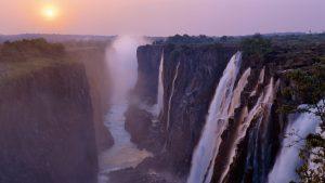 Misty sunrise over Victoria Falls National Park, Zimbabwe