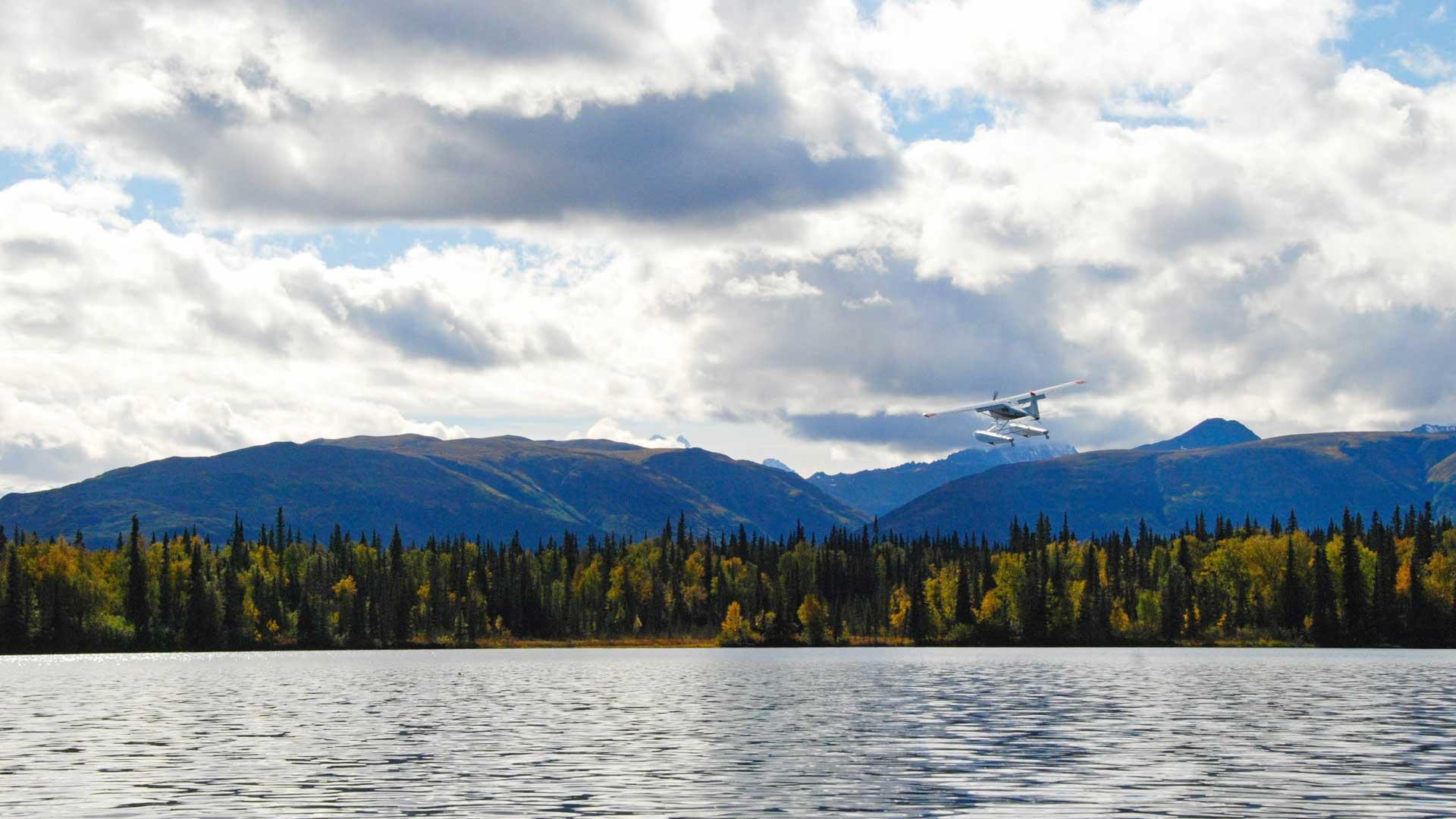 Float plane taking off in Alaska with GeoEx.