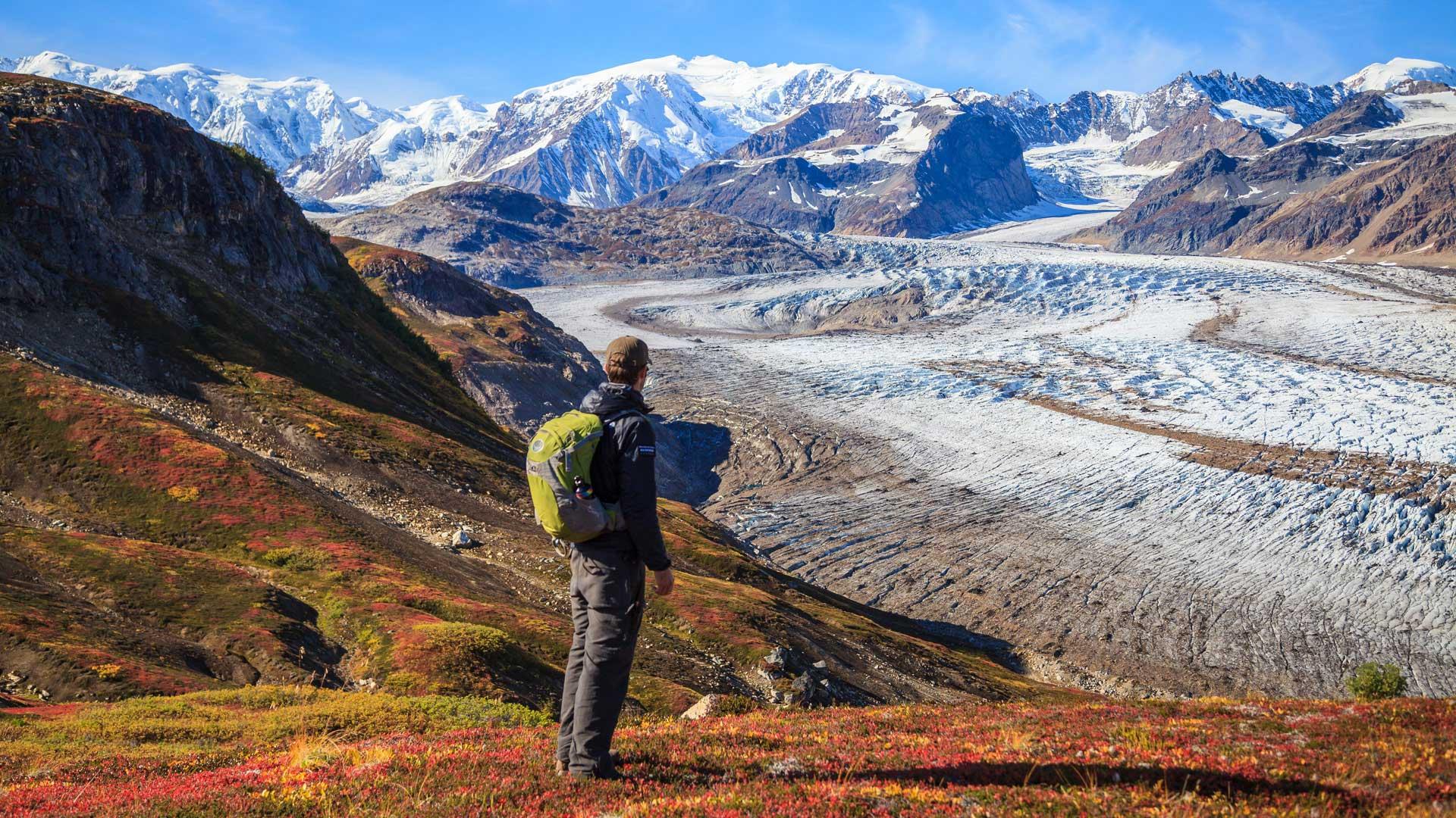 Fall hiking near the Trimble Glacier in Alaska with GeoEx.