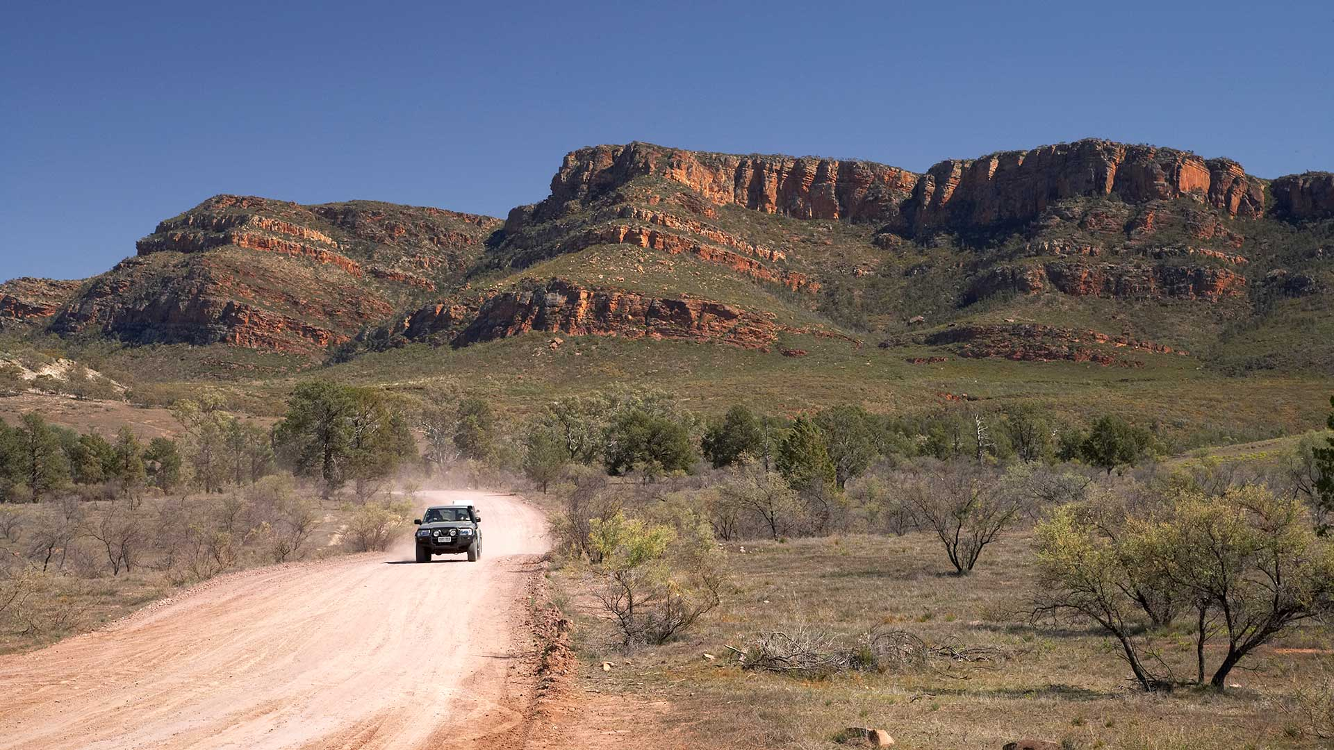 Road and Wilpena Pound, Flinders Ranges, Australia