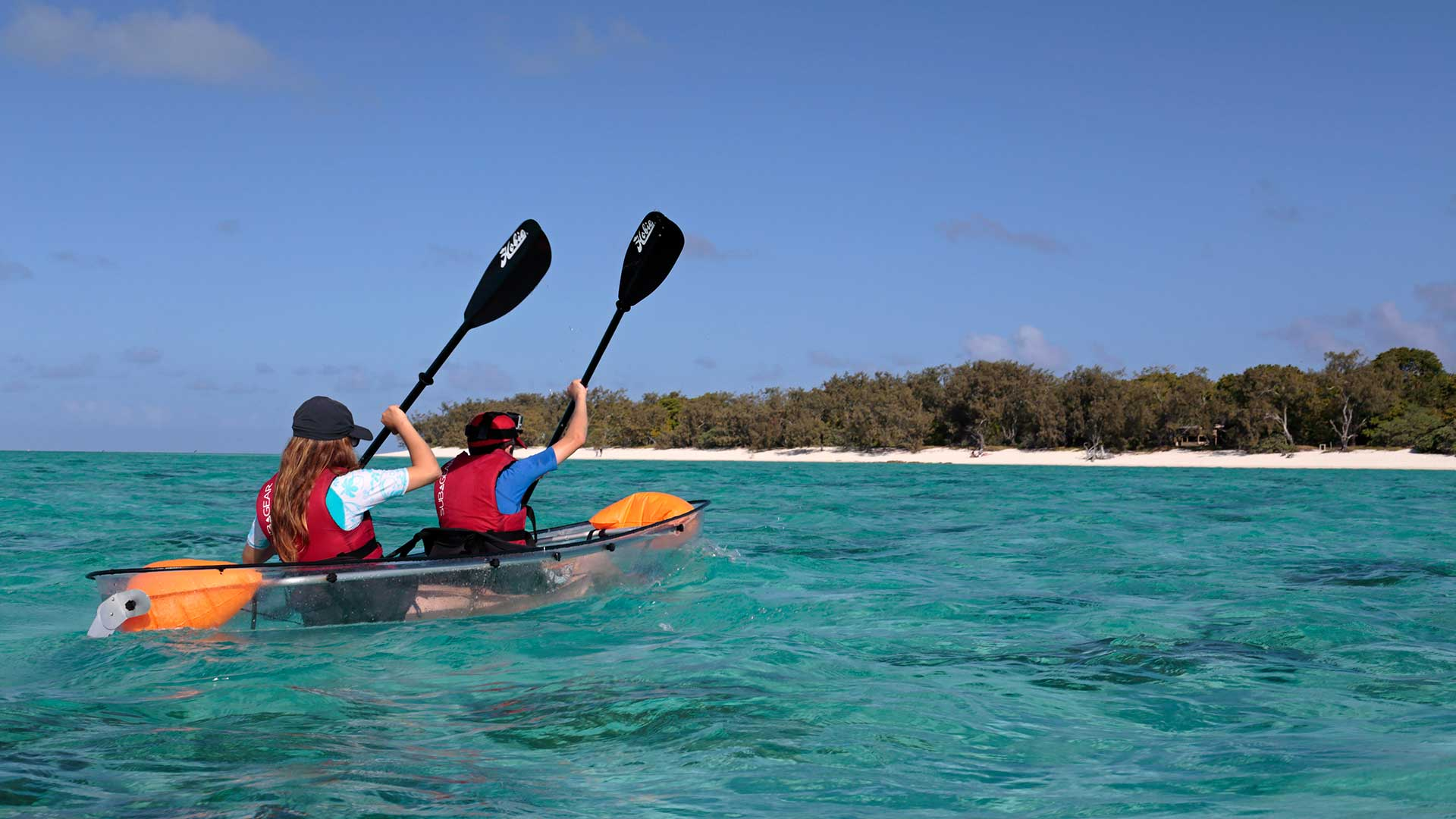 Kayaking across the lagoon at Heron Island on the Great Barrier Reef, Queensland, Australia