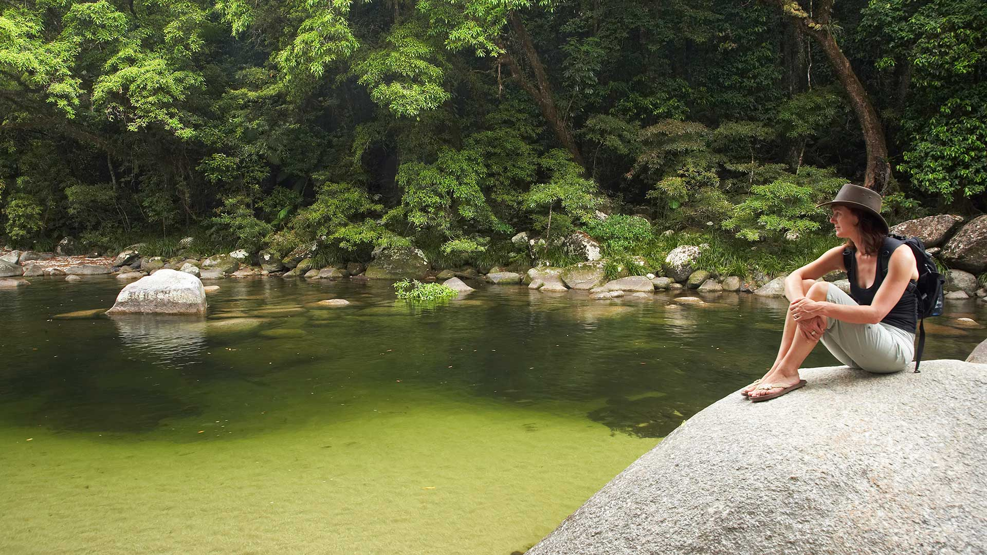 Woman in Akubra and Mossman River, Mossman Gorge, Daintree National Park, North Queensland, Australia