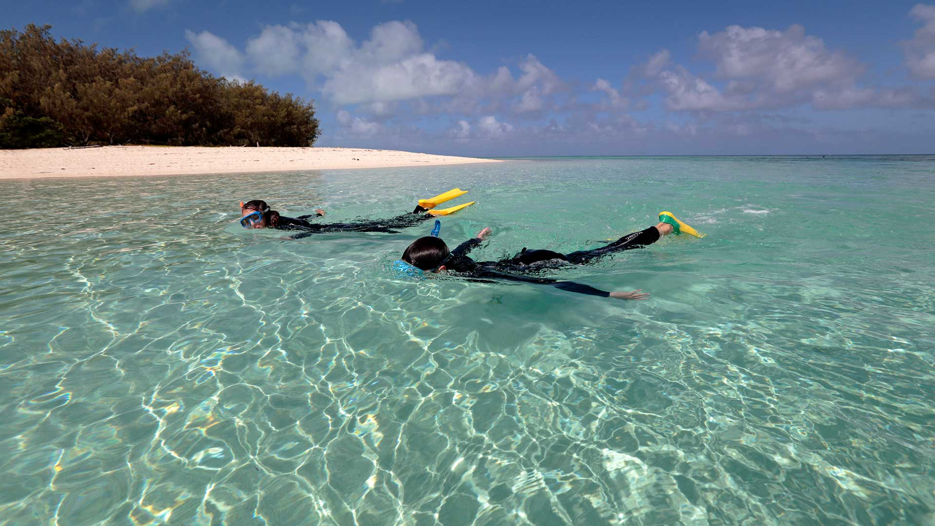 Snorkeling in the clear shallow waters of the lagoon at Heron Island on the Great Barrier Reef, Queensland, Australia