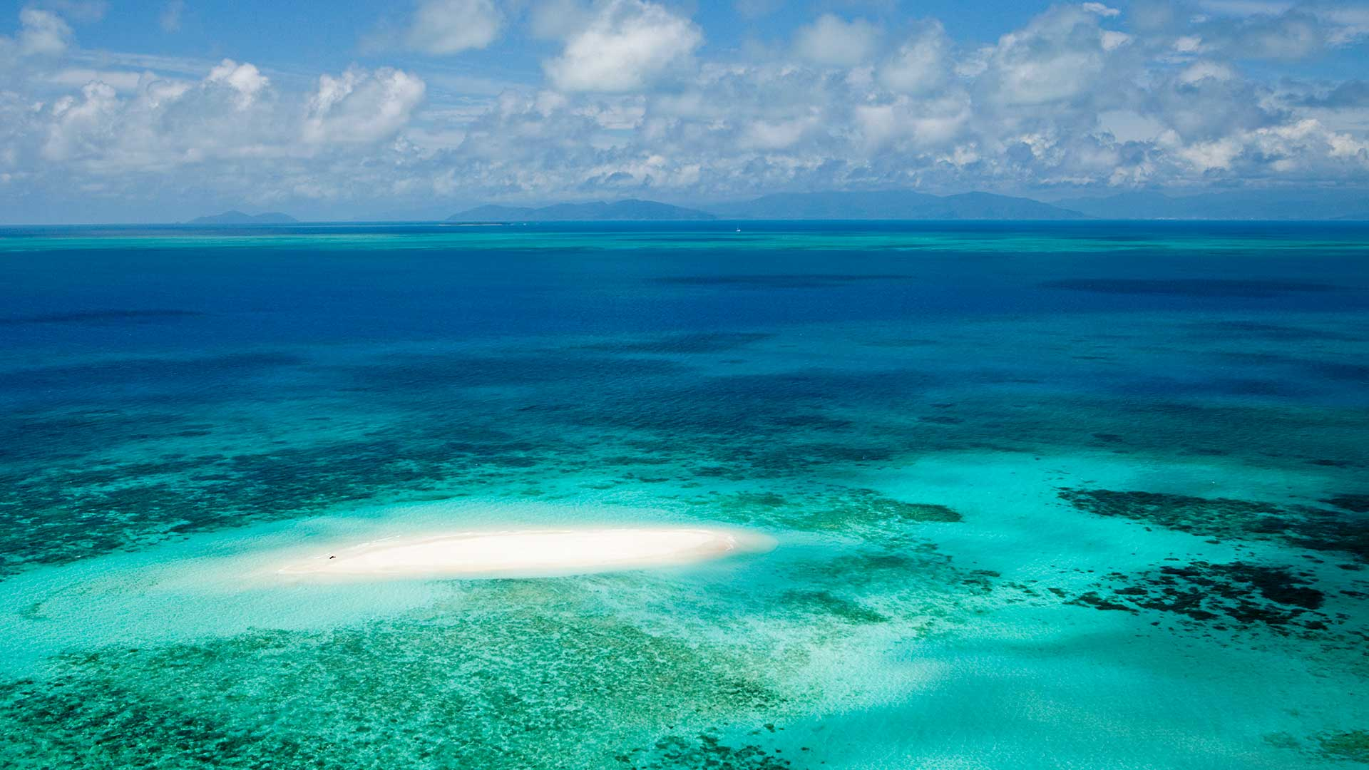 Aerial view of Vlassof Cay in Great Barrier Reef Marine Park