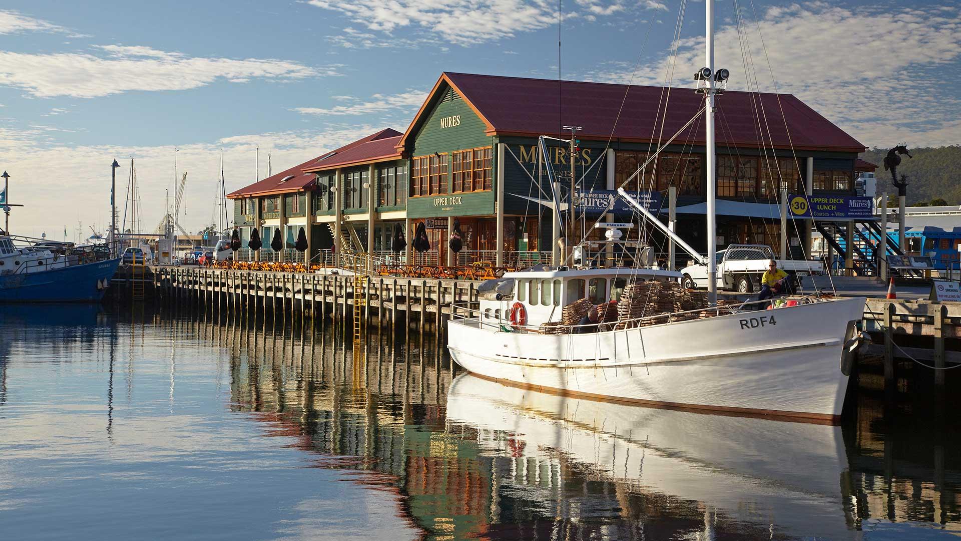 Fishing Boats and Mures Seafood Restaurant, Reflected in Victoria Dock, Hobart, Tasmania, Australia