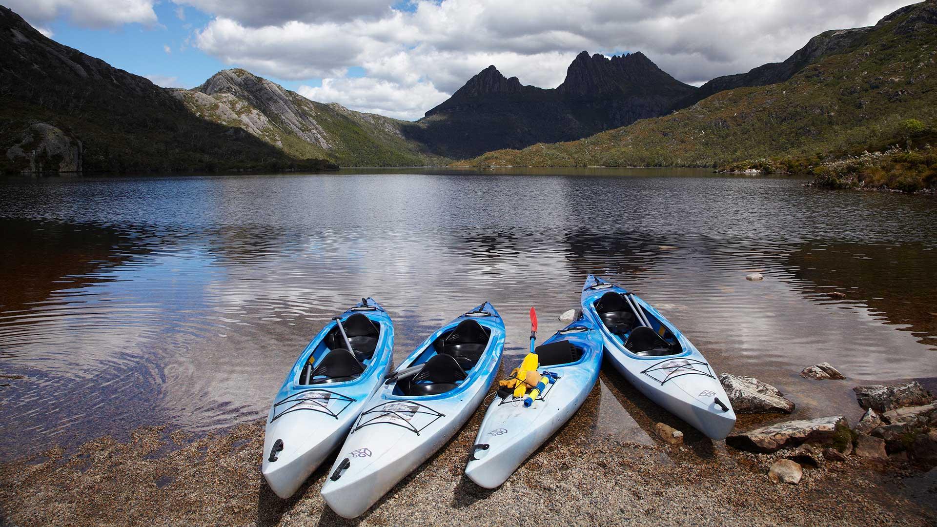 Kayaks, Cradle Mountain and Dove Lake - Lake St Clair National Park, Western Tasmania, Australia