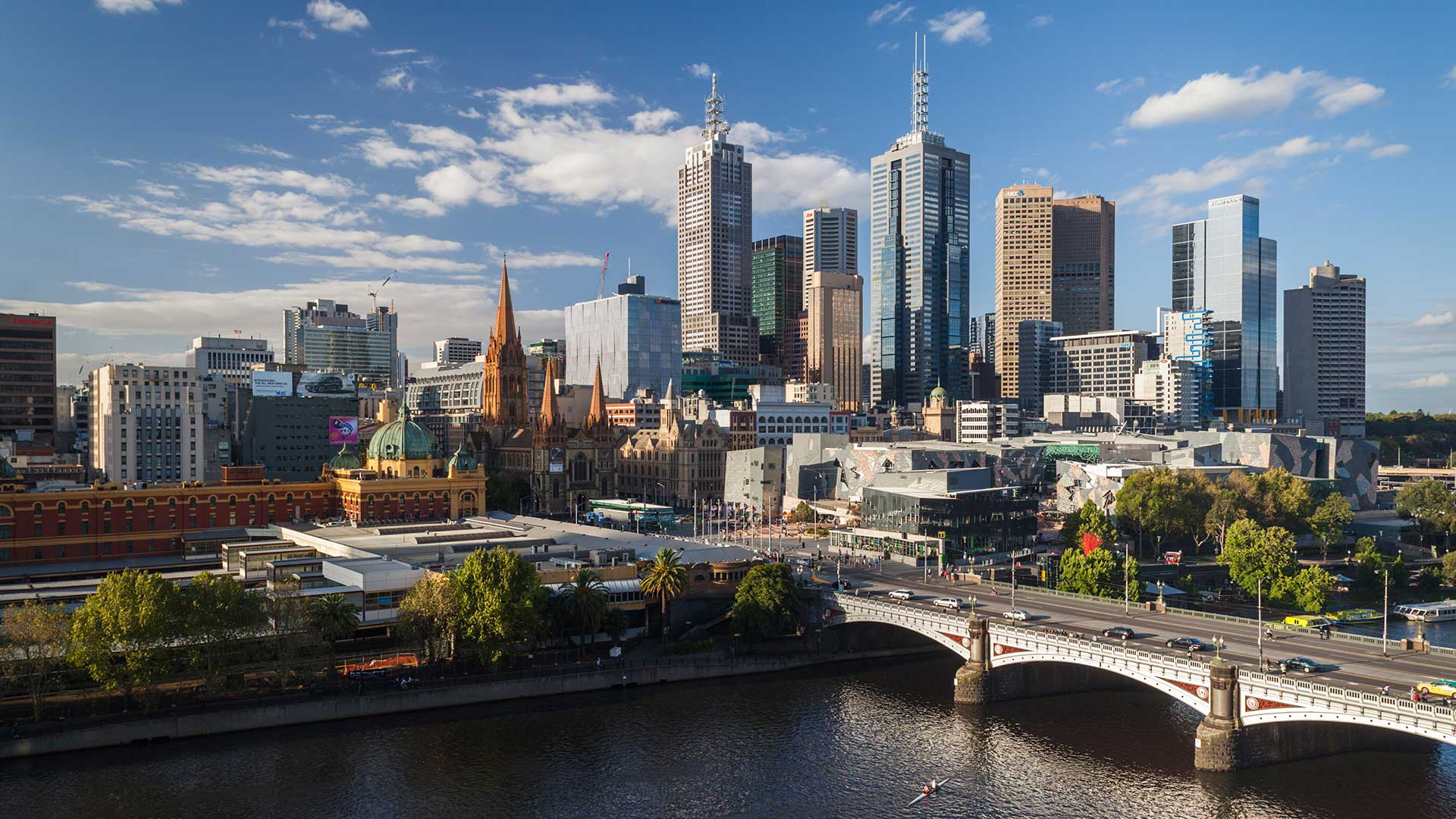 Melbourne, skyline with Yarra River and Princess Bridge