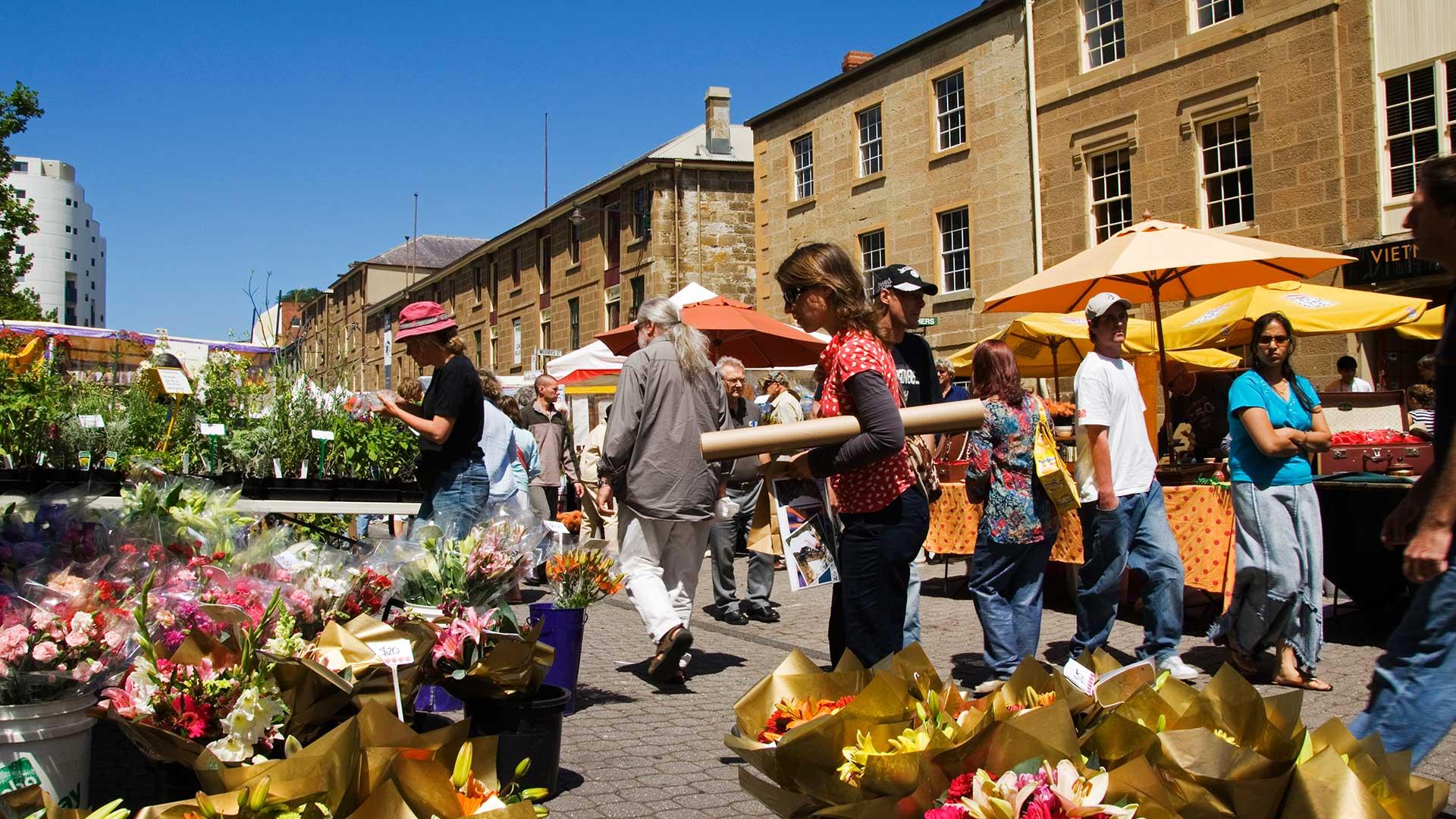Salamanca Street. Market flower stall