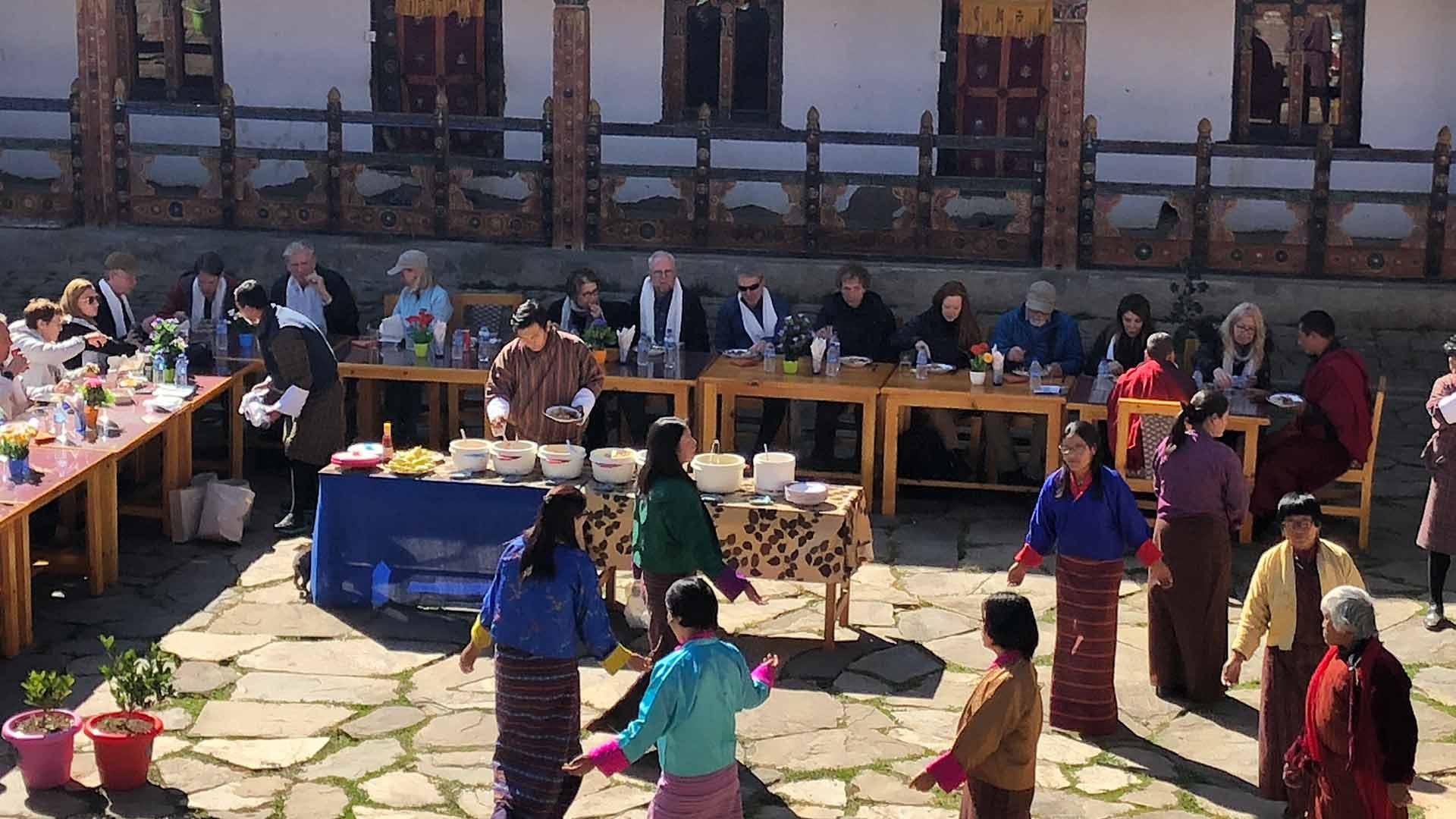 Bhutan, meal in courtyard