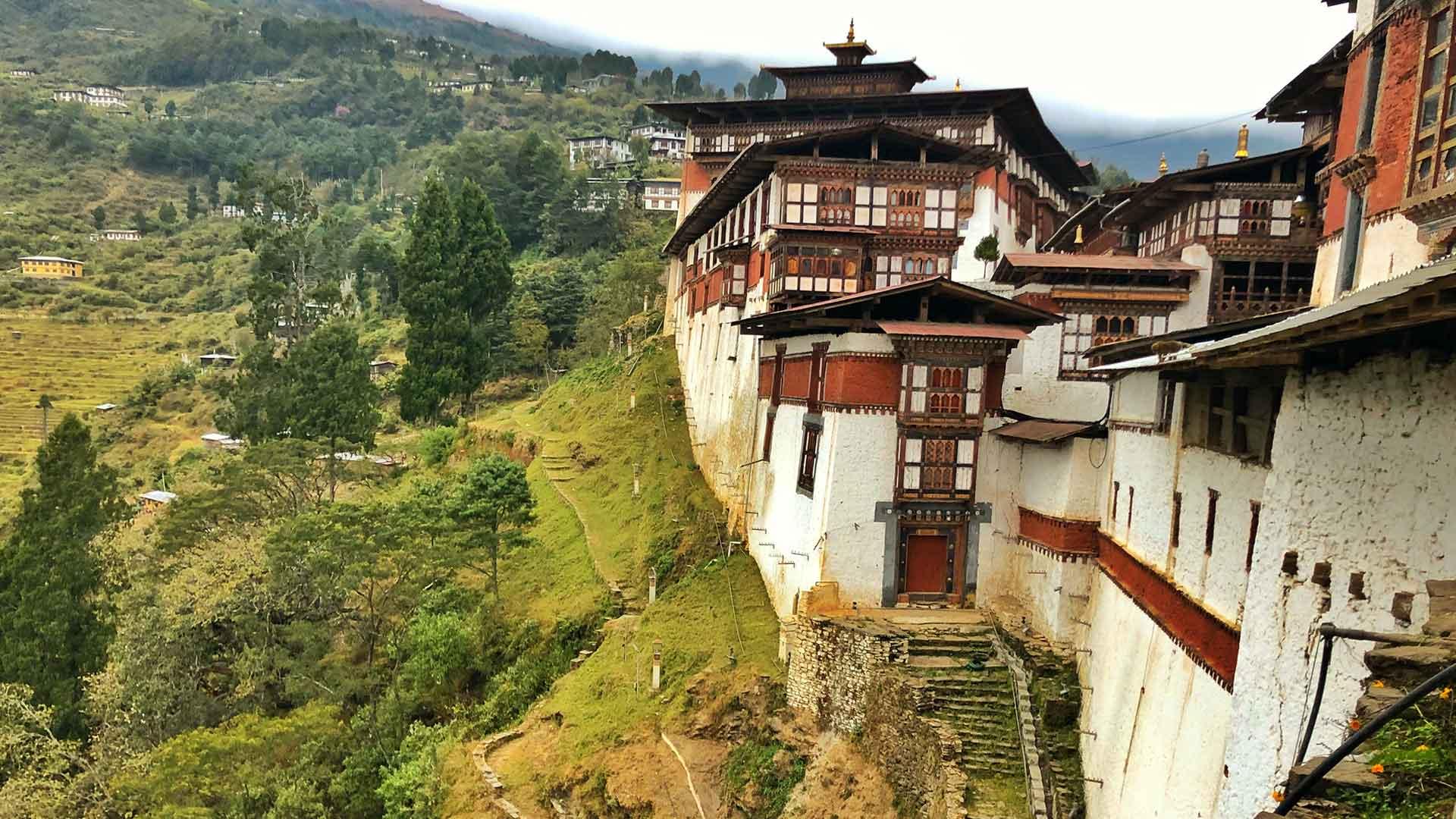 Bhutan, dzong in countryside