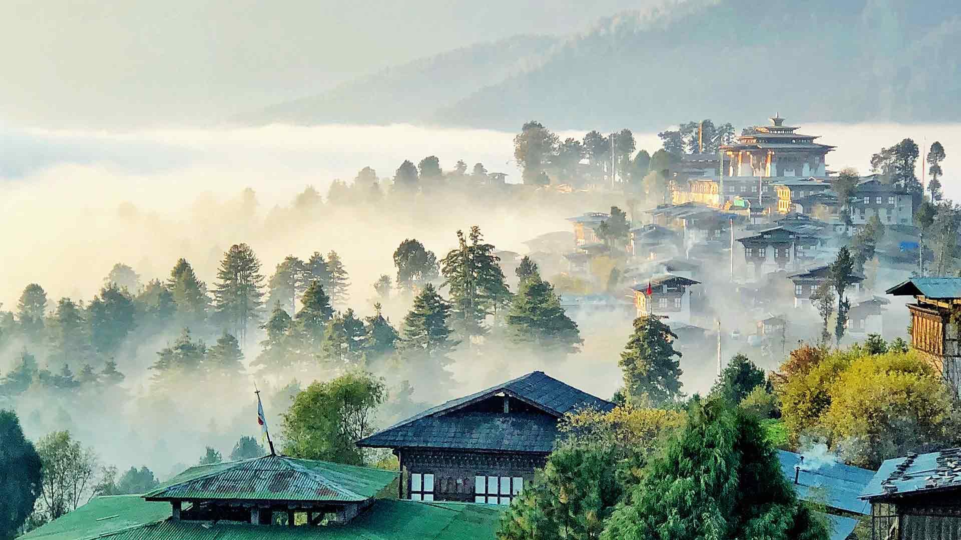 Bhutan, misty countryside