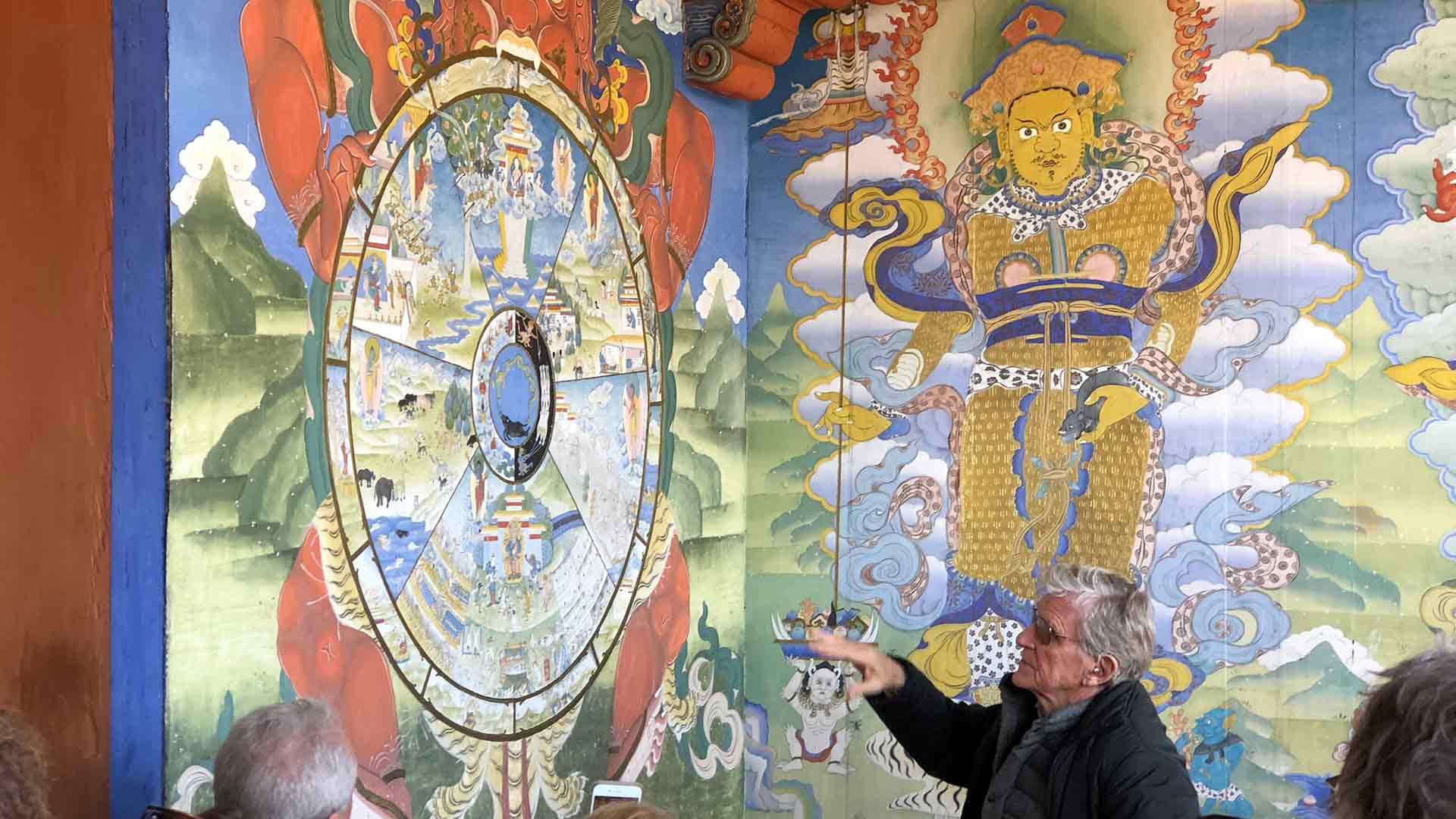Dr. Robert Thurman describing a tapestry in Bhutan